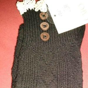 NEW Womens Boot Over The Knee Socks Black White